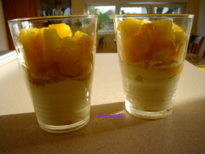 Verrines ananas miel vanille et mascarpone